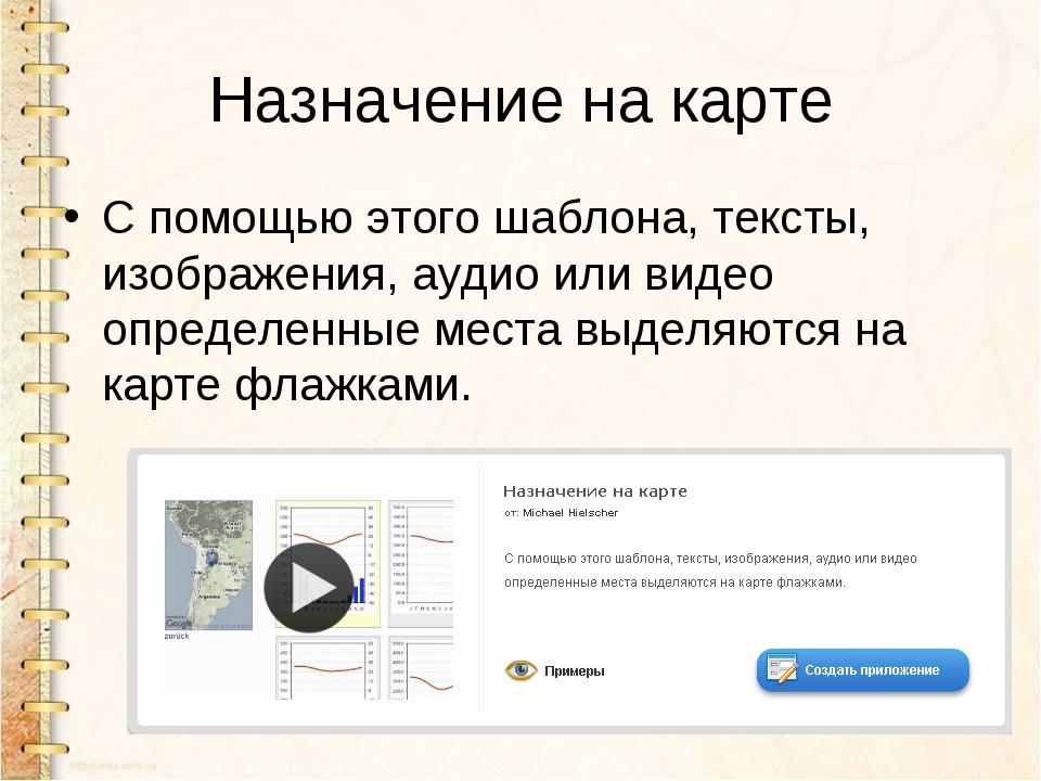 Назначение на карте С помощью этого шаблона, тексты, изображения, аудио или в...