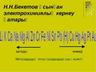 Н.Н.Бекетов ұсынған электрохимиялық кернеу қатары: артады кемиді Металдардың
