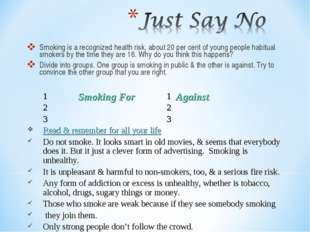 Smoking is a recognized health risk, about 20 per cent of young people habitu