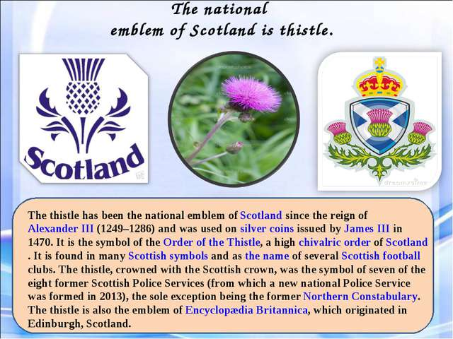 The national emblem of Scotland is thistle. The thistle has been the national...