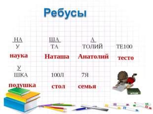 НА ША А У ТА ТОЛИЙ ТЕ100 У ШКА100Л 7Я наука Наташа Анатолий тесто подушк