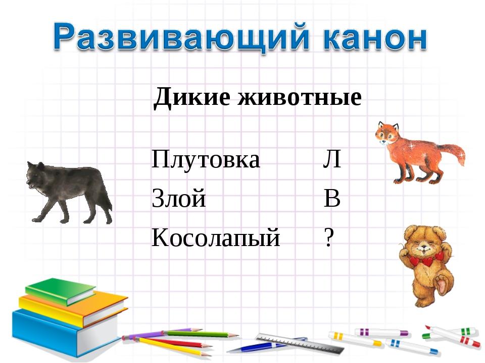 Дикие животные Плутовка Л Злой В Косолапый ?