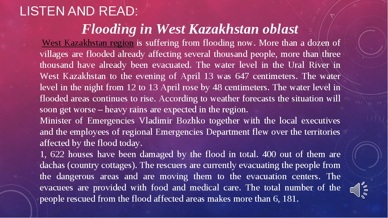 LISTEN AND READ: Flooding in West Kazakhstan oblast West Kazakhstan regioni...