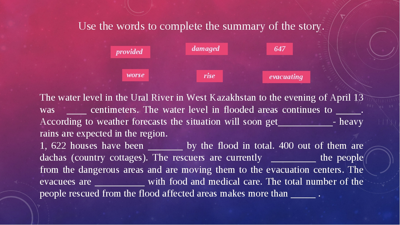 Use the words to complete the summary of the story. The water level in the Ur...