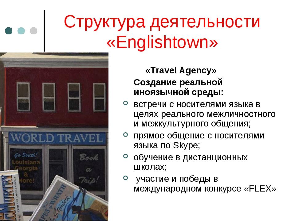 Структура деятельности «Englishtown» «Travel Agency» Создание реальной инояз...