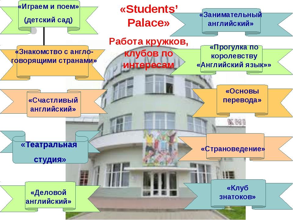 «Играем и поем» (детский сад) «Занимательный английский» «Знакомство с англо-...
