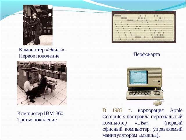 Компьютер «Эниак». Первое поколение Компьютер IBM-360. Третье поколение Перфо...