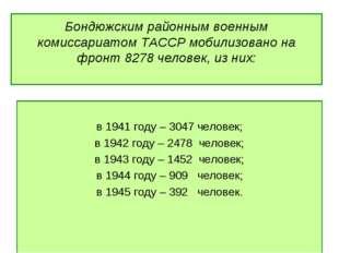 Бондюжским районным военным комиссариатом ТАССР мобилизовано на фронт 8278 че