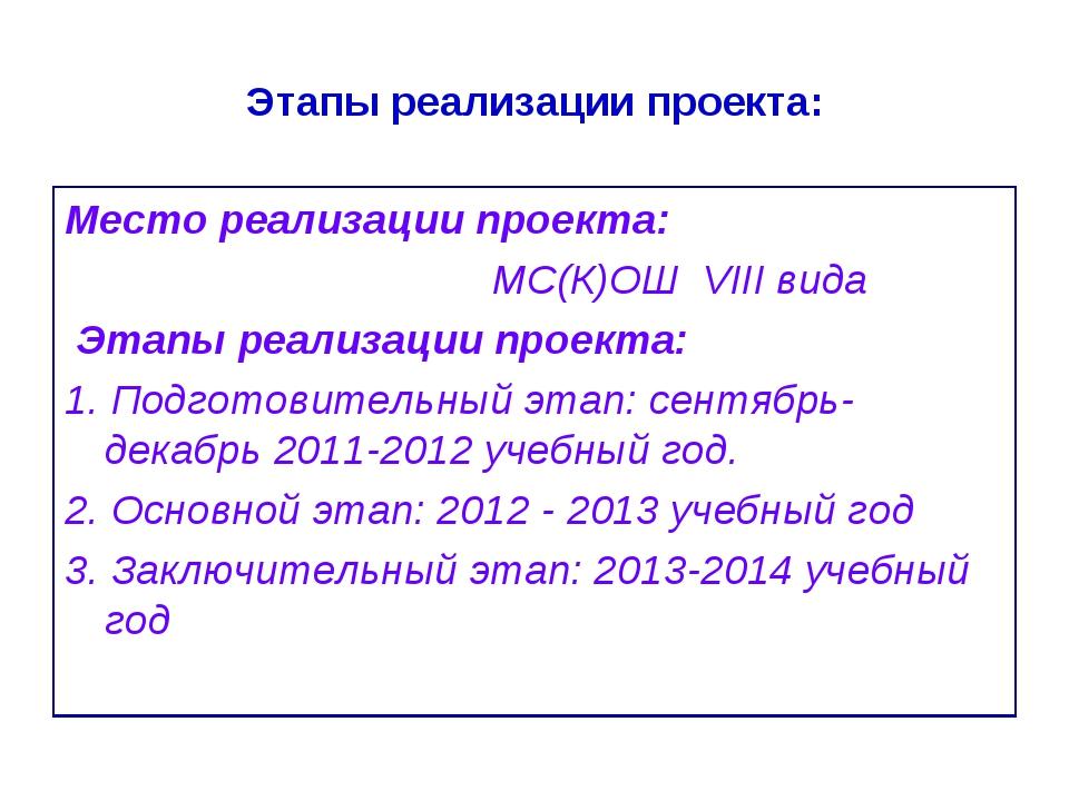 Этапы реализации проекта: Место реализации проекта: МС(К)ОШ VIII вида Этапы р...