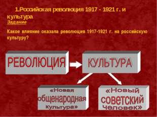 Задание Какое влияние оказала революция 1917-1921 г. на российскую культуру?