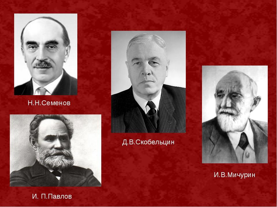 Д.В.Скобельцин Н.Н.Семенов И. П.Павлов И.В.Мичурин