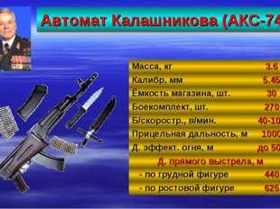 Автомат Калашникова (АКС-74) 27 Масса, кг3.6 Калибр, мм5.45 Ёмкость магазин