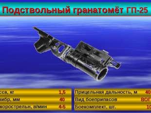 Подствольный гранатомёт ГП-25 33 Масса, кг1,5 Калибр, мм40 Б/скорострельн,
