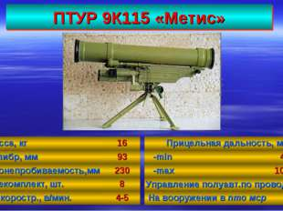 ПТУР 9К115 «Метис» 37 Масса, кг16 Калибр, мм93 Бронепробиваемость,мм230 Бо