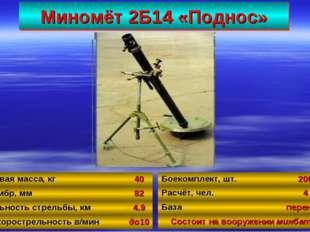 Миномёт 2Б14 «Поднос» 55 Боевая масса, кг40 Калибр, мм82 Дальность стрельбы