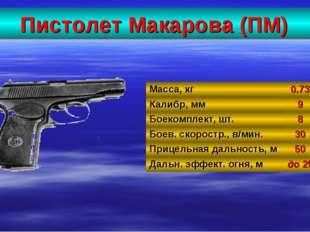 Пистолет Макарова (ПМ) 25 Масса, кг0.73 Калибр, мм9 Боекомплект, шт.8 Боев