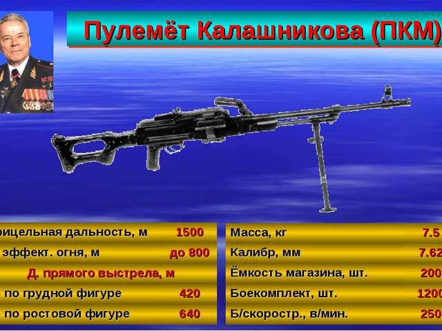 Пулемёт Калашникова (ПКМ) 30 Масса, кг7.5 Калибр, мм7.62 Ёмкость магазина,...