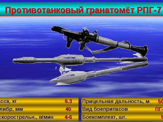 Противотанковый гранатомёт РПГ-7 35 Масса, кг6.3 Калибр, мм40 Б/скорострел...