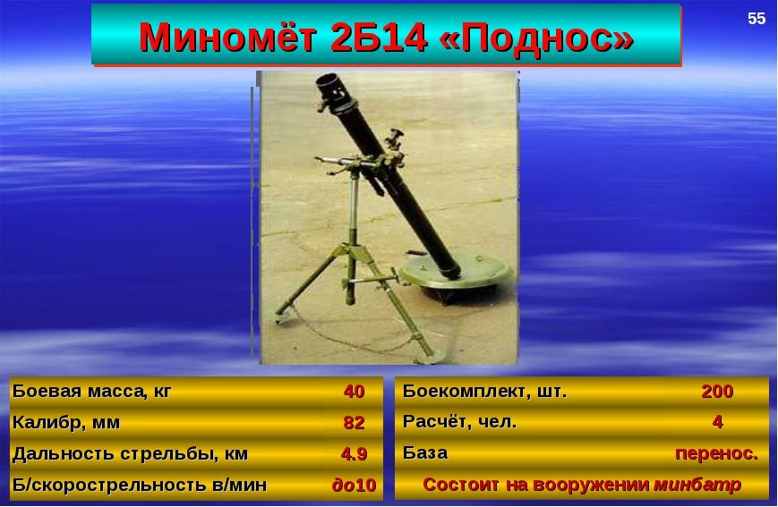 Миномёт 2Б14 «Поднос» 55 Боевая масса, кг40 Калибр, мм82 Дальность стрельбы...