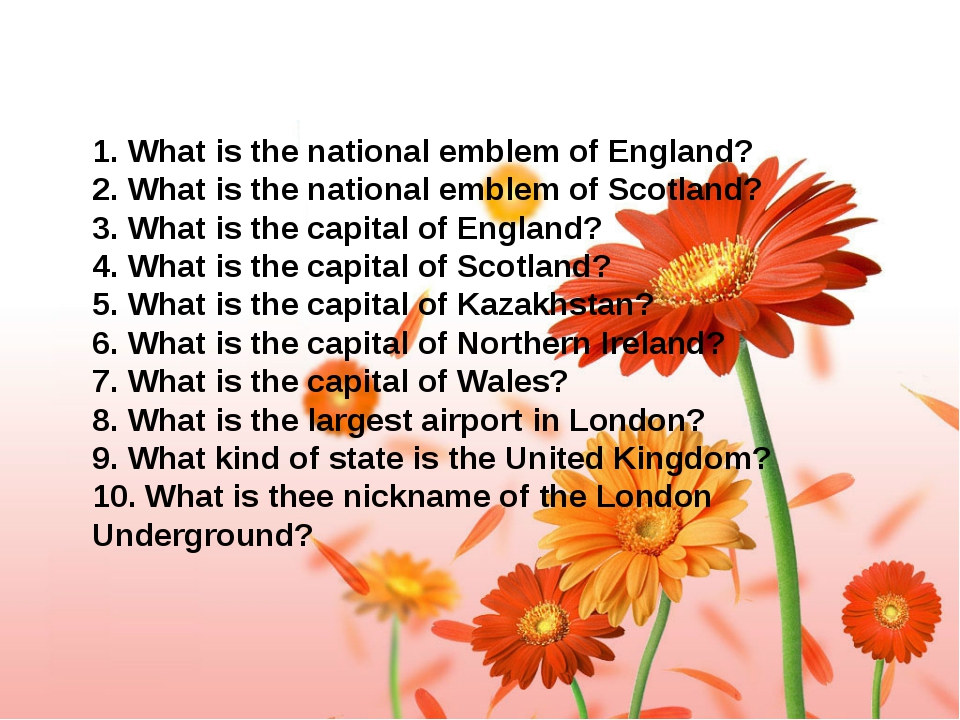 1. What is the national emblem of England? 2. What is the national emblem of...
