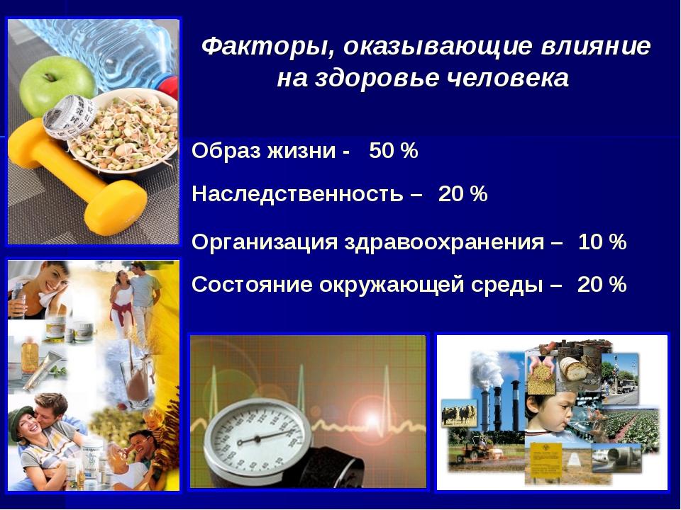 Факторы, оказывающие влияние на здоровье человека 10 % Образ жизни - 50 % Сос...