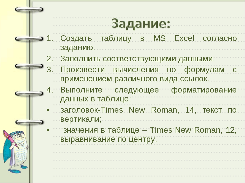 Создать таблицу в MS Excel согласно заданию. Заполнить соответствующими данны...