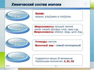 Химический состав молока Белки Макроэлементы: кальций, магний, калий, натрий,