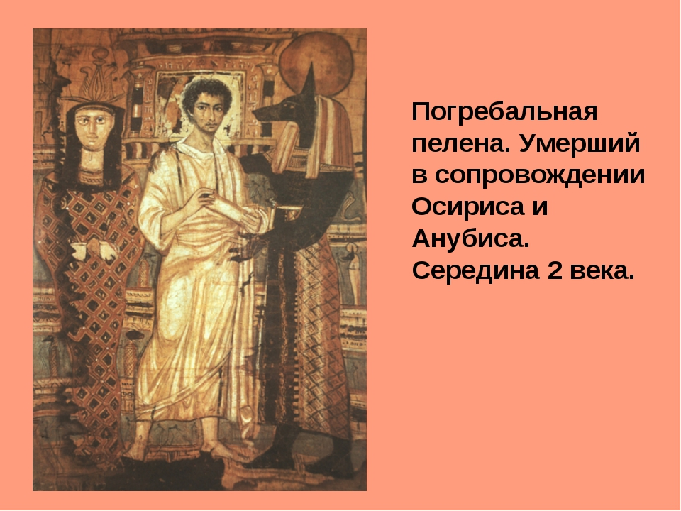 Погребальная пелена. Умерший в сопровождении Осириса и Анубиса. Середина 2 ве...