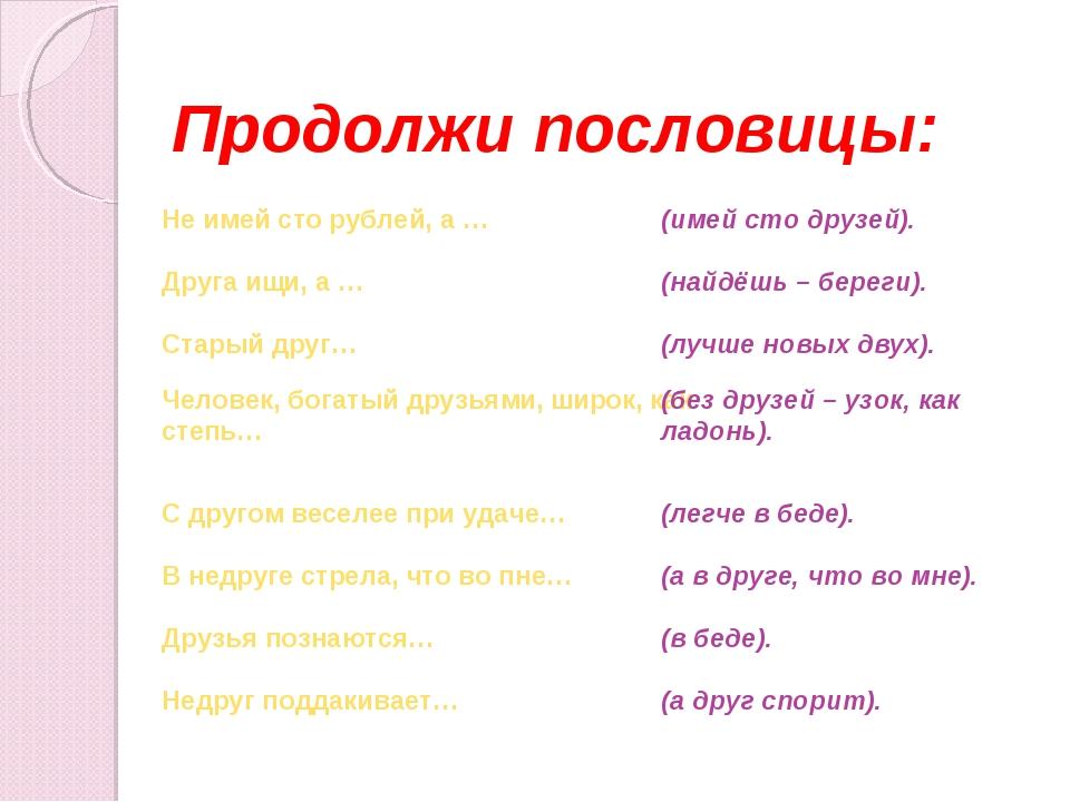 Продолжи пословицы: Не имей сто рублей, а … (имей сто друзей). Друга ищи, а...