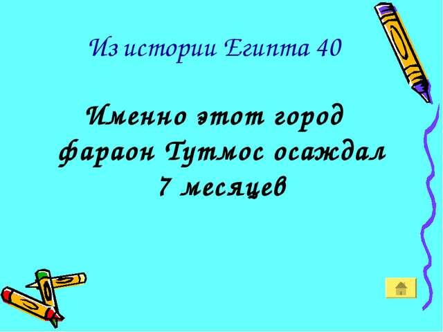 Из истории Египта 40 Именно этот город фараон Тутмос осаждал 7 месяцев