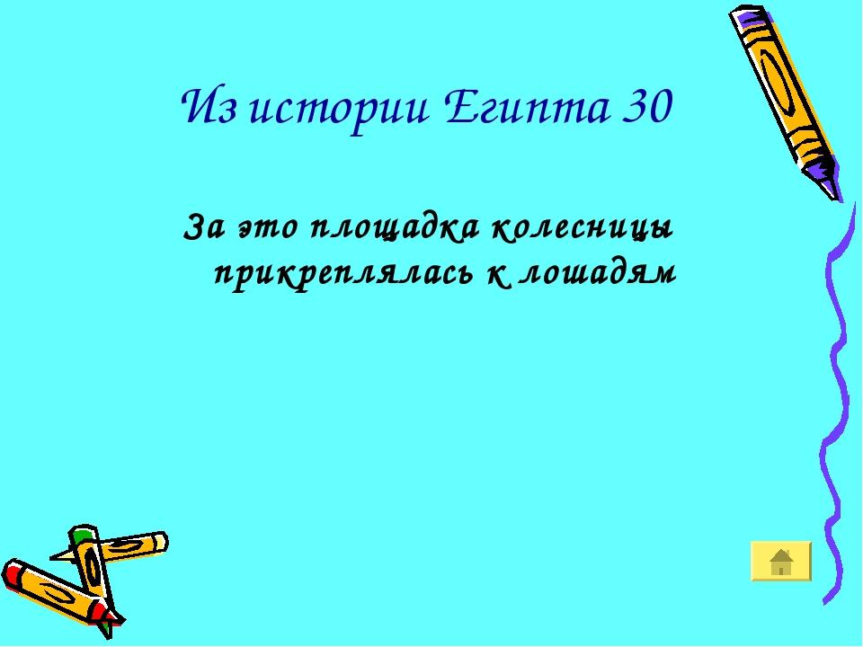 Из истории Египта 30 За это площадка колесницы прикреплялась к лошадям