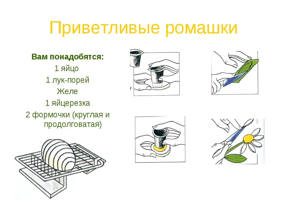 Приветливые ромашки Вам понадобятся: 1 яйцо 1 лук-порей Желе 1 яйцерезка 2 фо...