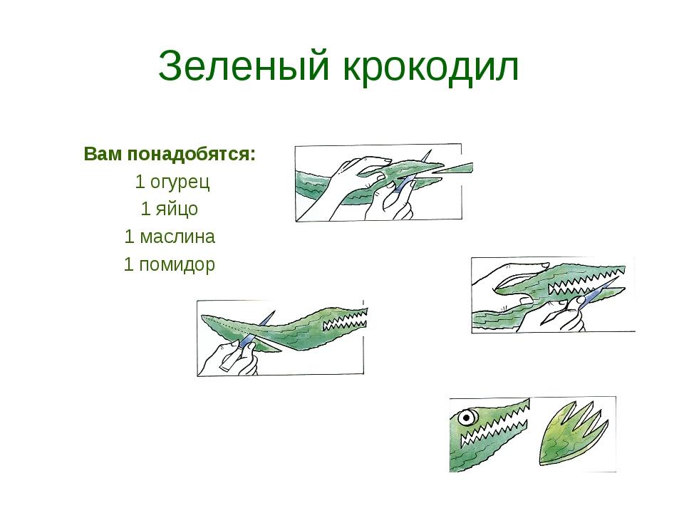 Зеленый крокодил Вам понадобятся: 1 огурец 1 яйцо 1 маслина 1 помидор