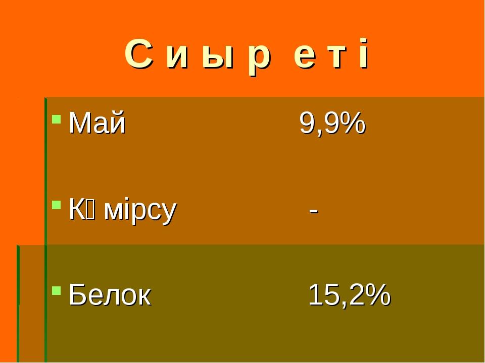 С и ы р е т і Май 9,9% Көмірсу - Белок 15,2%