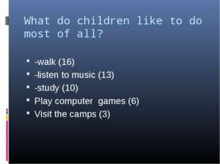 What do children like to do most of all? -walk (16) -listen to music (13) -st
