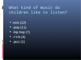 What kind of music do children like to listen? rock (12) -pop (11) -hip hop (