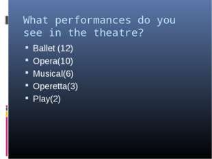 What performances do you see in the theatre? Ballet (12) Opera(10) Musical(6)