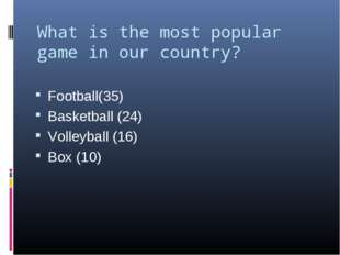 What is the most popular game in our country?   Football(35) Basketball (24)