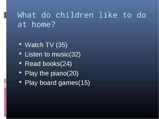 What do children like to do at home?   Watch TV (35) Listen to music(32) Read...