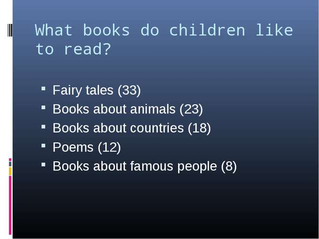 What books do children like to read?   Fairy tales (33) Books about animals (...