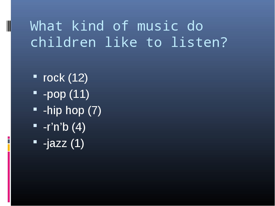 What kind of music do children like to listen? rock (12) -pop (11) -hip hop (...