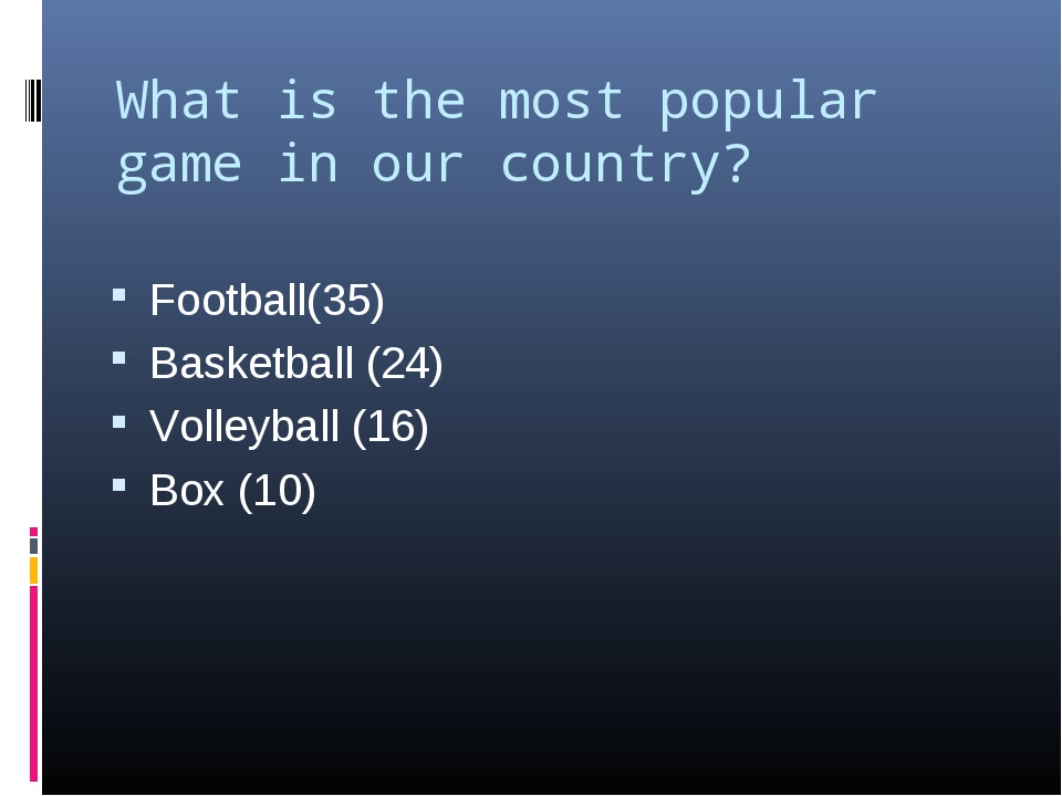 What is the most popular game in our country?   Football(35) Basketball (24)...