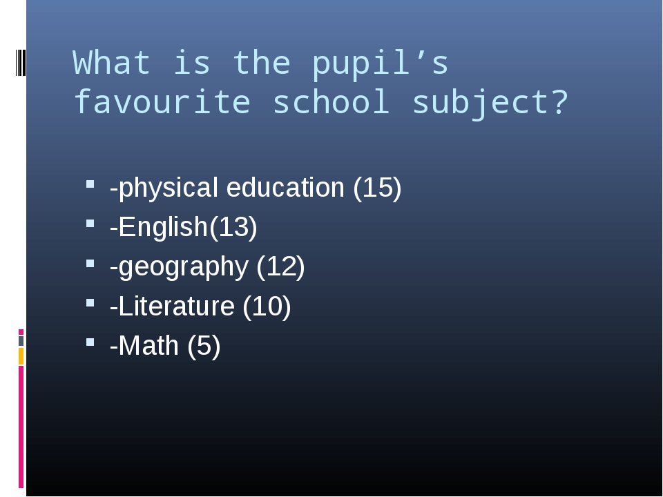 What is the pupil's favourite school subject?   -physical education (15) -Eng...