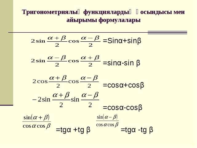 Тригонометриялық функциялардың қосындысы мен айырымы формулалары =Sinα+sinβ =...