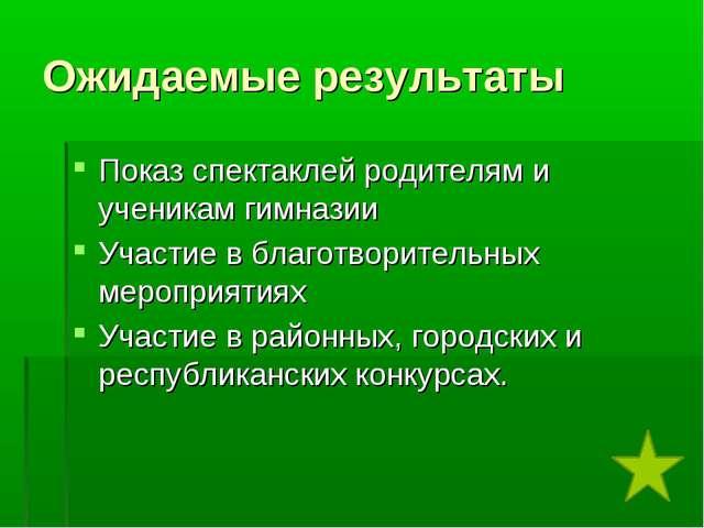 Ожидаемые результаты Показ спектаклей родителям и ученикам гимназии Участие в...