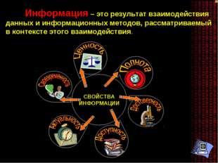 СВОЙСТВА ИНФОРМАЦИИ Информация – это результат взаимодействия данных и информ