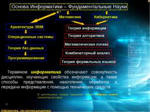 Термином информатика обозначают совокупность дисциплин, изучающих свойства ин