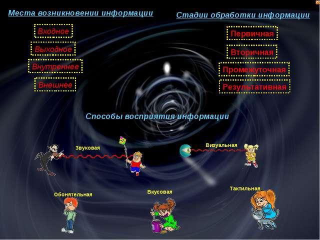 Места возникновении информации Стадии обработки информации Способы восприятия...