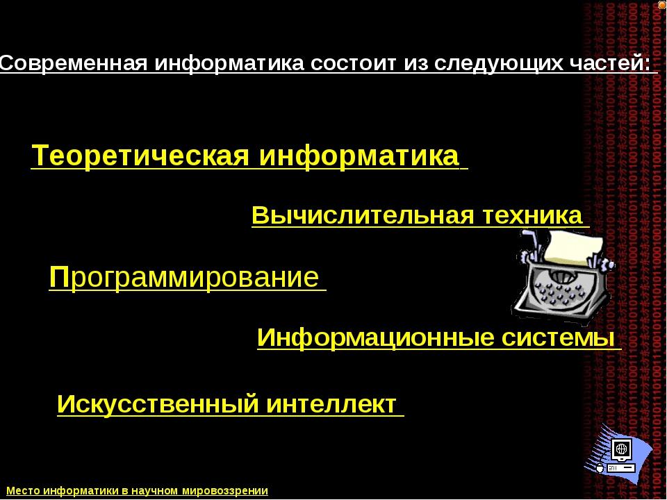 Современная информатика состоит из следующих частей: Теоретическая информатик...