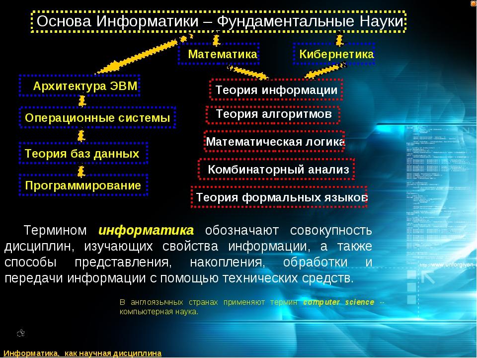 Термином информатика обозначают совокупность дисциплин, изучающих свойства ин...